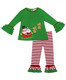 Toddler Girl Santa And Snowman Applique Legging Set