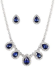 Silver-Tone Pavé & Colored Crystal Statement Necklace & Stud Earrings Set, Created for Macy's