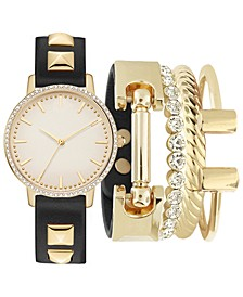 Women's Black Studded Strap Watch 34mm Gift Set