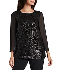 Sequinned Chiffon-Sleeve Top