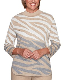 Petite Glacier Lake Animal-Print Jacquard Sweater