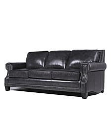 Madysson Italian  Leather Sofa with Nailhead Trim in Camel Brown