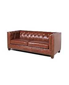 Natlock Italian Leather Chesterfield Sofa in Camel Brown