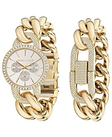 Women's Large Open-Link Crystal Embellished Gold Tone Stainless Steel Strap Analog Watch and Bracelet Set 40mm