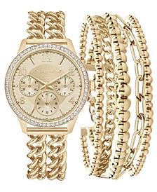 Women's Double Gold Tone Stainless Steel Strap Analog Watch and Layered Bracelet Set 40mm