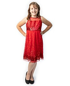 Big Girls Sequin Illusion Party Dress