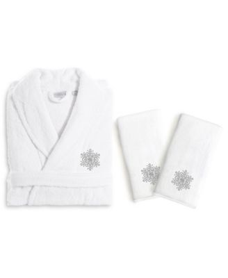 Textiles Embroidered Luxury Hand Towels and Terry Bathrobe Set - Christmas Dog