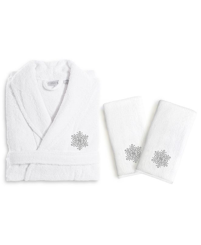 Linum Home Textiles Embroidered Luxury Hand Towels and Terry Bathrobe Set Collection