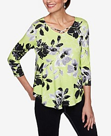 Plus Sizes Women's Neon Floral Print Top