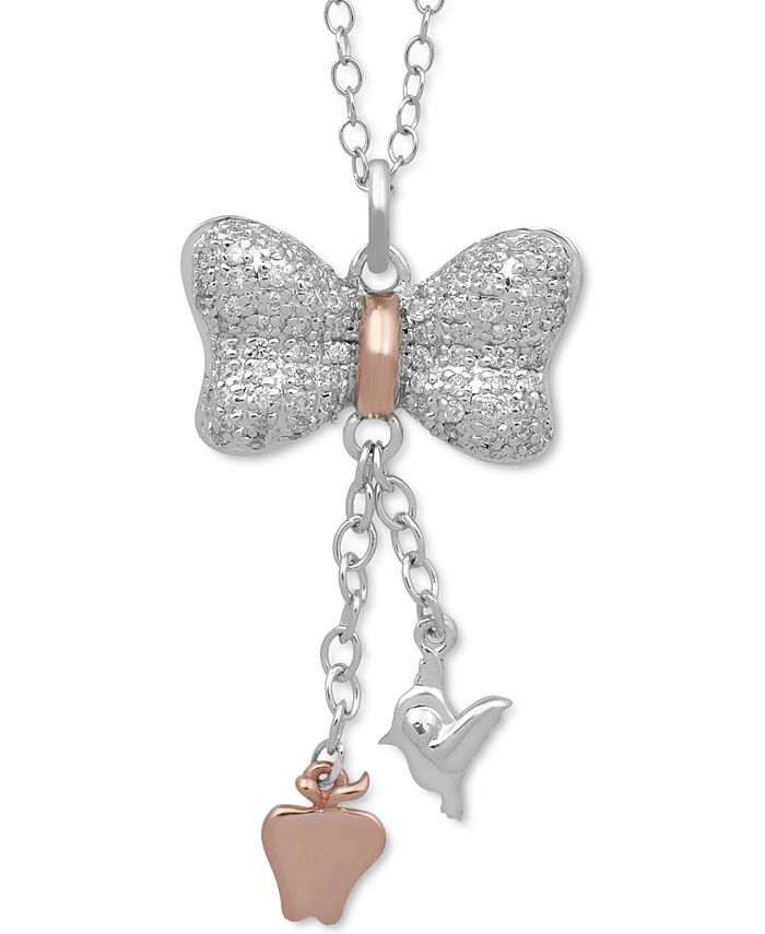 Enchanted Disney Fine Jewelry - Diamond Snow White Bow Pendant Necklace (1/5 ct. t.w.) in Sterling Silver & 10k Rose Gold