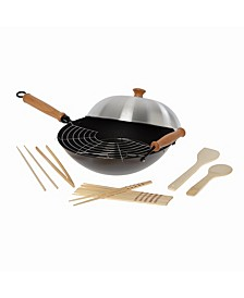 """Joyce Chen Professional Series 14"""" Carbon Steel Nonstick Wok Set with Lid and Maple Handles, 10 Pieces"""