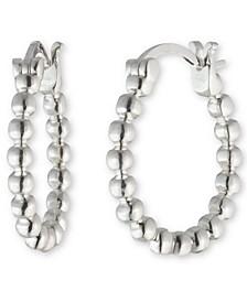 """Small Beaded Hoop Earrings in Sterling Silver, 0.63"""""""