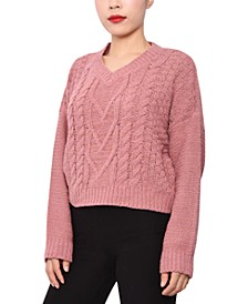 Juniors' Cable-Knit V-Neck Sweater