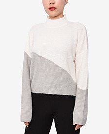 Juniors' Colorblocked Mock Neck Sweater