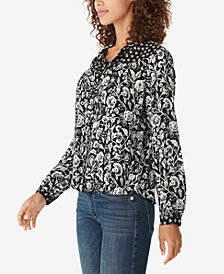 Lucky Brand Printed Peasant Blouse