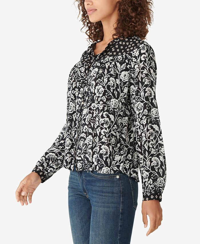 Lucky Brand - Cotton Printed Peasant Blouse