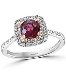 EFFY® Rhodolite (1 ct. t.w.) & Diamond (1/4 ct. t.w.) Ring in 14k Rose & White Gold