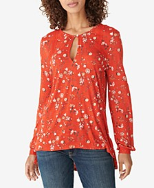 Printed Lace-Embroidered Top