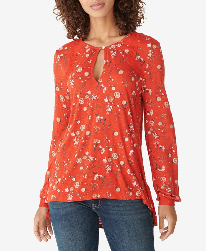 Lucky Brand - Cotton Printed Lace-Embroidered Top
