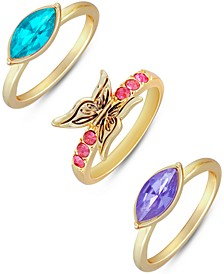 Gold-Tone 3-Pc. Stone & Butterfly Stack Rings