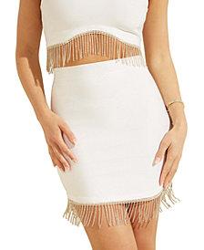 GUESS Rhinestone-Fringe Bandage Skirt
