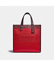 Colorblock Mixed Leather with Coach Badge Field Tote