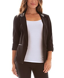 Juniors' Faux-Leather-Collar Open-Front Jacket