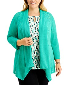 Plus Size Draped-Front Cardigan