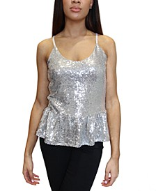 Junior's Sequined Peplum Tank Top