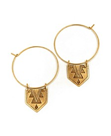 Women's 14K Gold Plated Hanging Mayan Pendant Thin Hoop Earrings