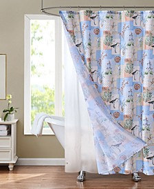 "Sunset Park Sandpiper 70"" x 72"" Shower Curtain and Liner Set, 14 Piece"