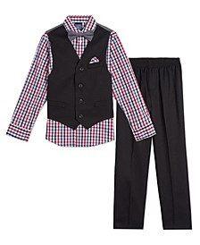 Little Boys Solid Textured 4 Piece Vest Set