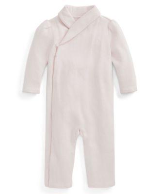 폴로 랄프로렌 Polo Ralph 로렌 랄프로렌 Lauren Ralph Lauren Baby Girls Shawl Collar Coverall,Delicate Pink