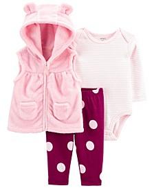 Carters Baby Girl 3-Piece Bear Little Vest Set