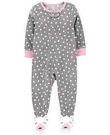 Baby Girl 1-Piece Polka Dot Fleece Footie PJs