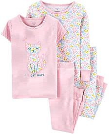 Baby Girl 4-Piece Floral Cat Snug Fit Cotton PJs