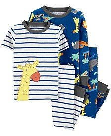 Baby Boy 4-Piece Giraffe Snug Fit Cotton PJs