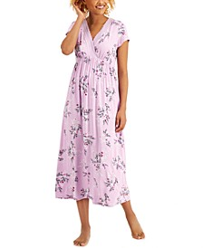 Floral-Print Surplice Long Nightgown, Created for Macy's