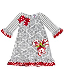 Baby Girls Candy Cane Printed Dress