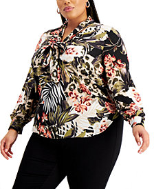 Bar III Trendy Plus Size Tie-Neck Top, Created for Macy's