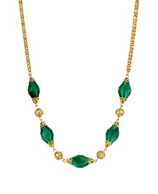 Women's 14K Gold Dipped Bead and Filigree Necklace