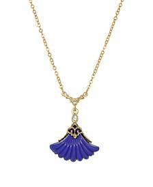 Women's Gold Tone Blue Fan Drop Necklace