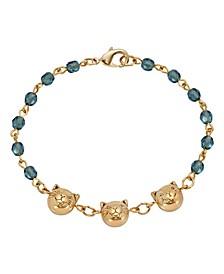 Women's 14K Gold Dipped Cat Faces On Blue Beaded Chain Bracelet