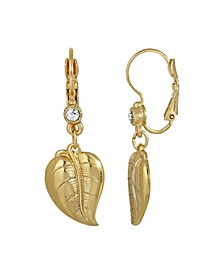 Women's 14K Gold Dipped Leaf with Crystal Drop Lever Back Earring
