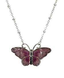 Women's Silver Tone Purple and Black Enamel Butterfly Necklace