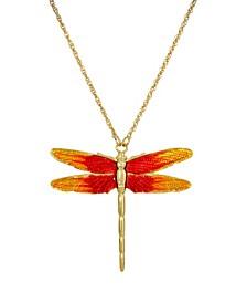 Women's Gold Tone Orange Enamel Dragonfly Pendant Necklace