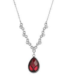 Women's Silver Tone Red Teardrop Pendant Necklace