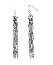 Women's Silver Tone Chain Tassel Earrings