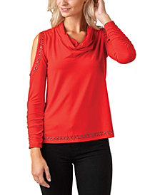 Black Label Women's Plus Size Metallic Studded Cowl Neck Knit Top