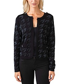 Black Label Women's Plus Size Embellished Houndstooth Open Cardigan